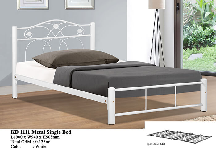 KD 1111 Metal Single Bed (White)