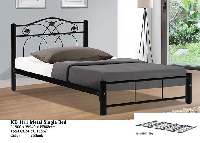 KD 1111 Metal Single Bed (Black)
