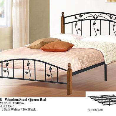 KD 2328 Wooden/Steel Queen Bed