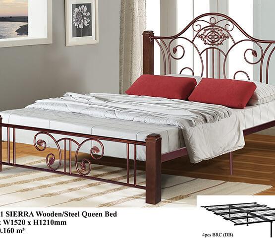 KD 2511 SIERRA Wooden/Steel Queen Bed