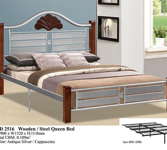 KD 2516 Wooden/Steel Queen Bed