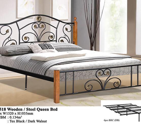 KD 2518 Wooden/Steel Queen Bed