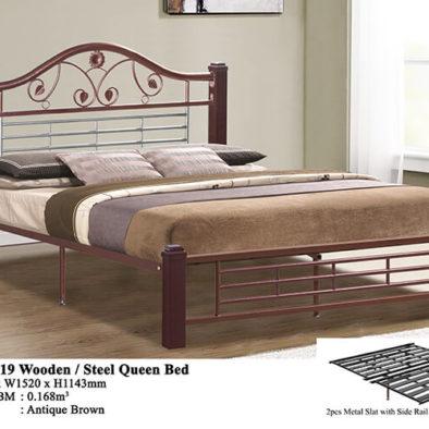 KD 2519 Wooden/Steel Queen Bed