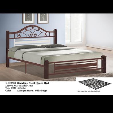 KD 2520 Wooden/Steel Queen Bed