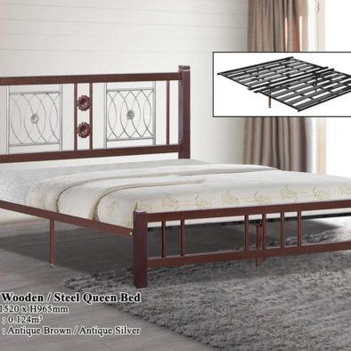 KD 2521 Wooden/Steel Queen Bed