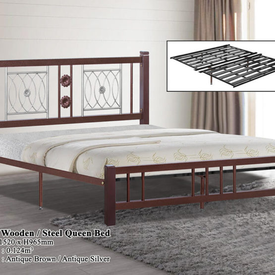 KD 2521 Wooden/Steel Queen Bed