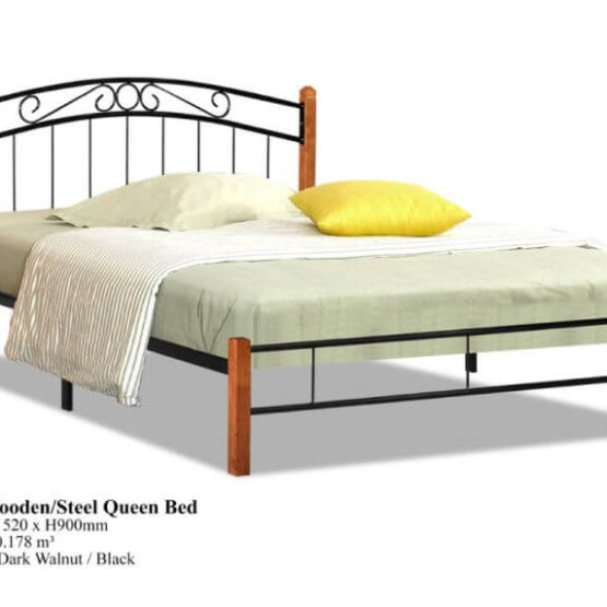 KD 30 Wooden Steel Queen Bed
