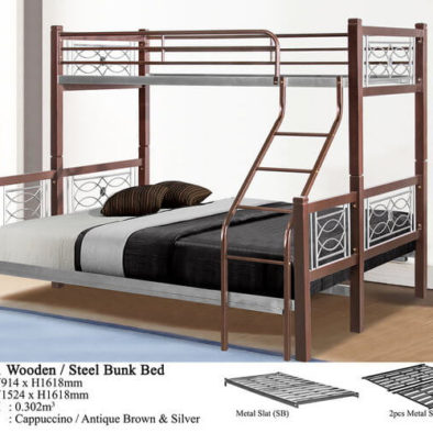 KD 3501 Wooden/Steel Bunk Bed
