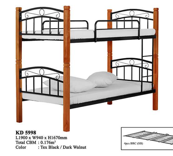 KD 5998 Wooden/Steel Double Decker Bed