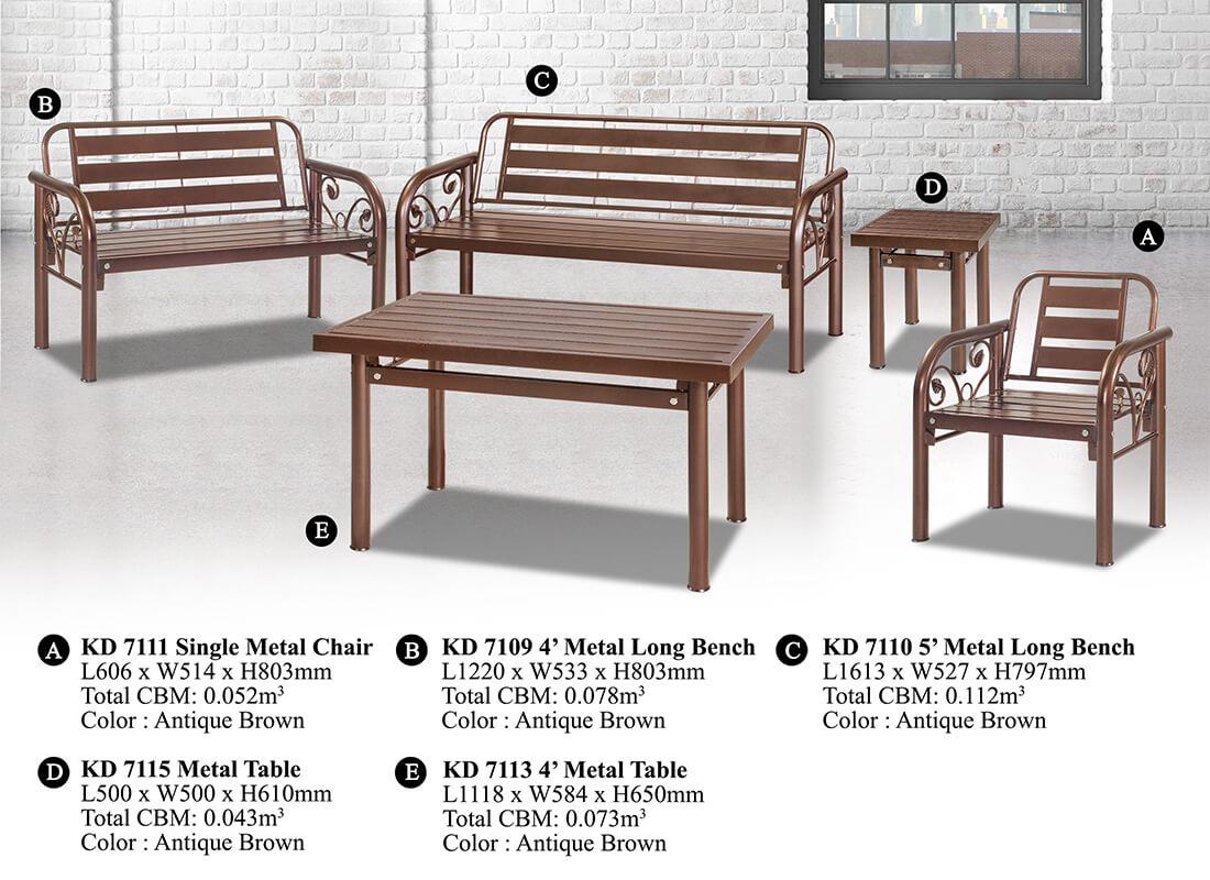 KD 7110 Metal Sofa Set (1+2+3)