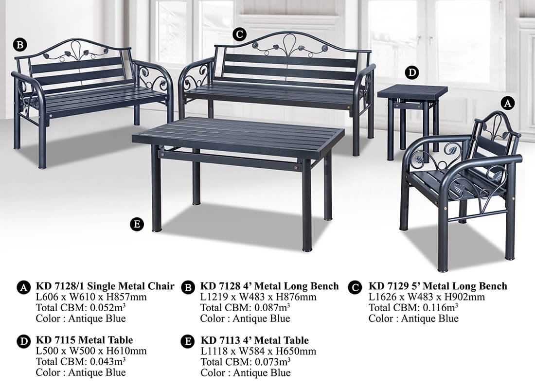 KD 7128 Metal Sofa Set (1+2+3)