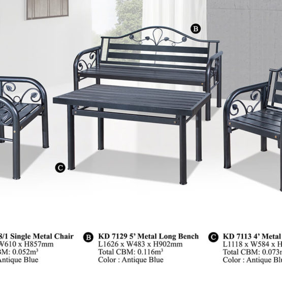 KD 7129 Metal Sofa Set (1+1+3)