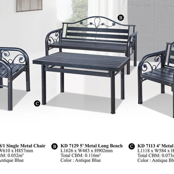 KD 7129 Metal Sofa Set (1+1+3)