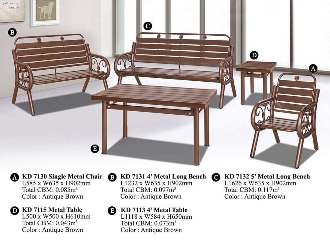 KD 7132 Metal Sofa Set (1+2+3)