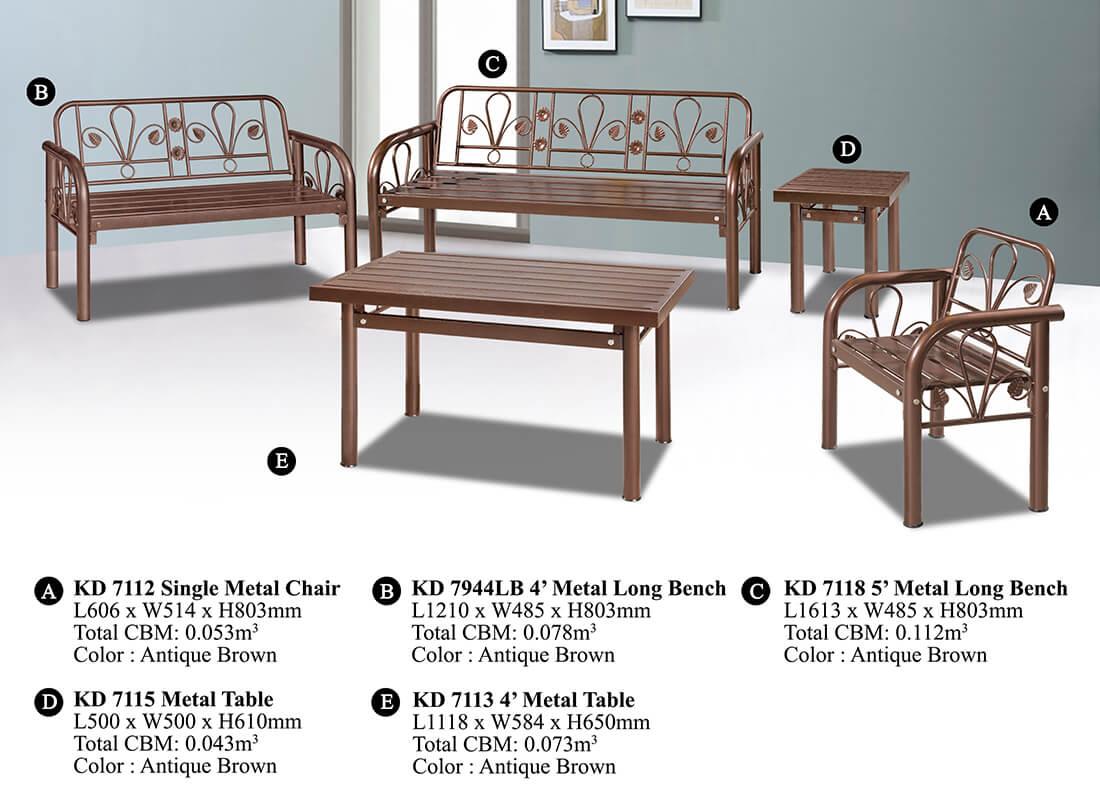 KD 7944 Metal Sofa Set (1+2+3)