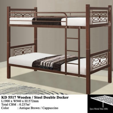 KD 5517 Wooden/Steel Double Decker Bed
