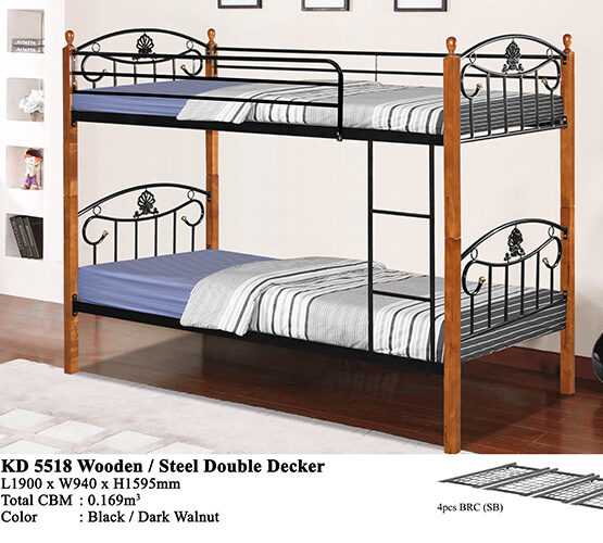 KD 5518 Wooden/Steel Double Decker Bed