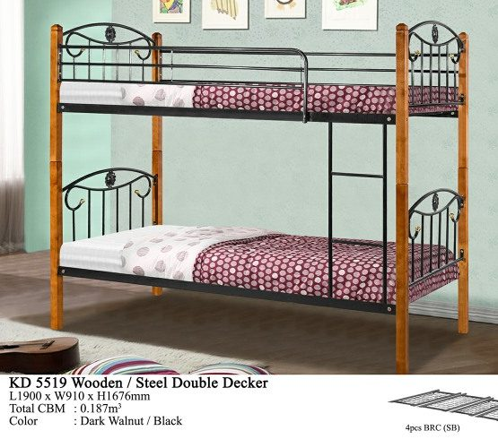 KD 5519 Wooden/Steel Double Decker Bed