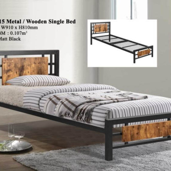 KD 1515 Metal/Wooden Single Bed