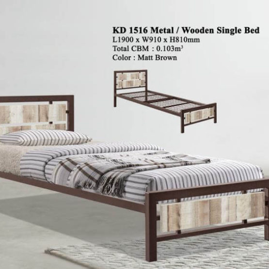 KD 1516 Metal/Wooden Single Bed