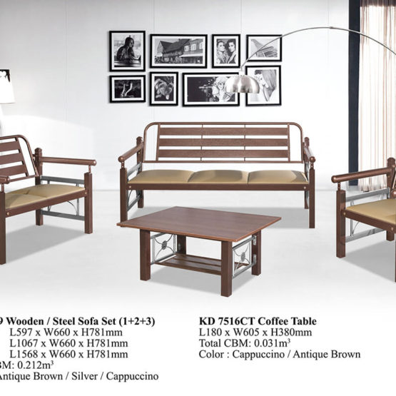 KD 9509 Wooden/Steel Sofa Set (1+2+3)