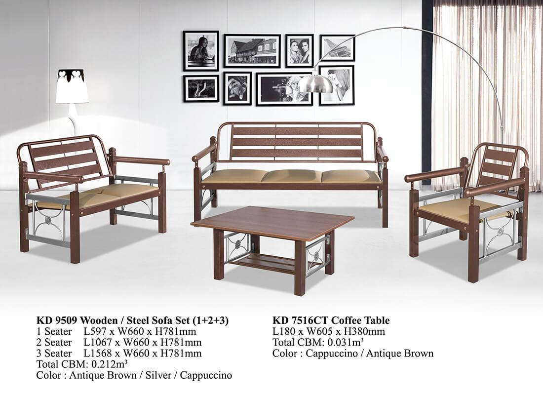 KD 9509 Wooden/Steel Sofa Set (1+2+3)